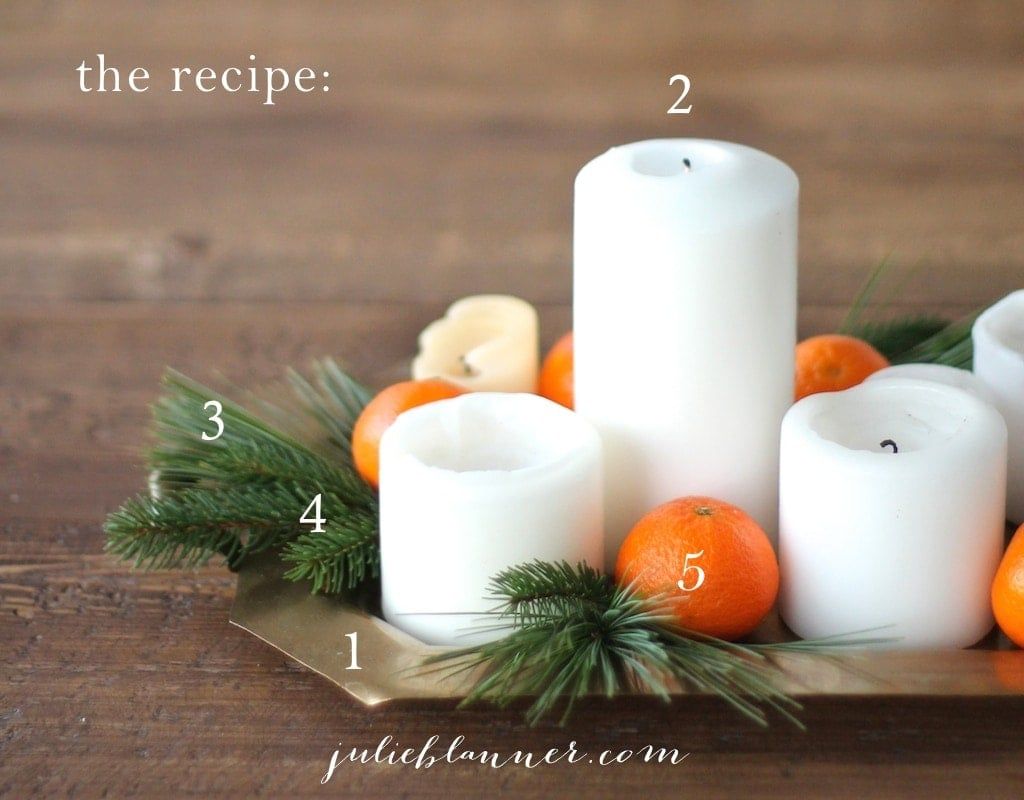 A 5 minute DIY Christmas Centerpiece tutorial with unexpected color