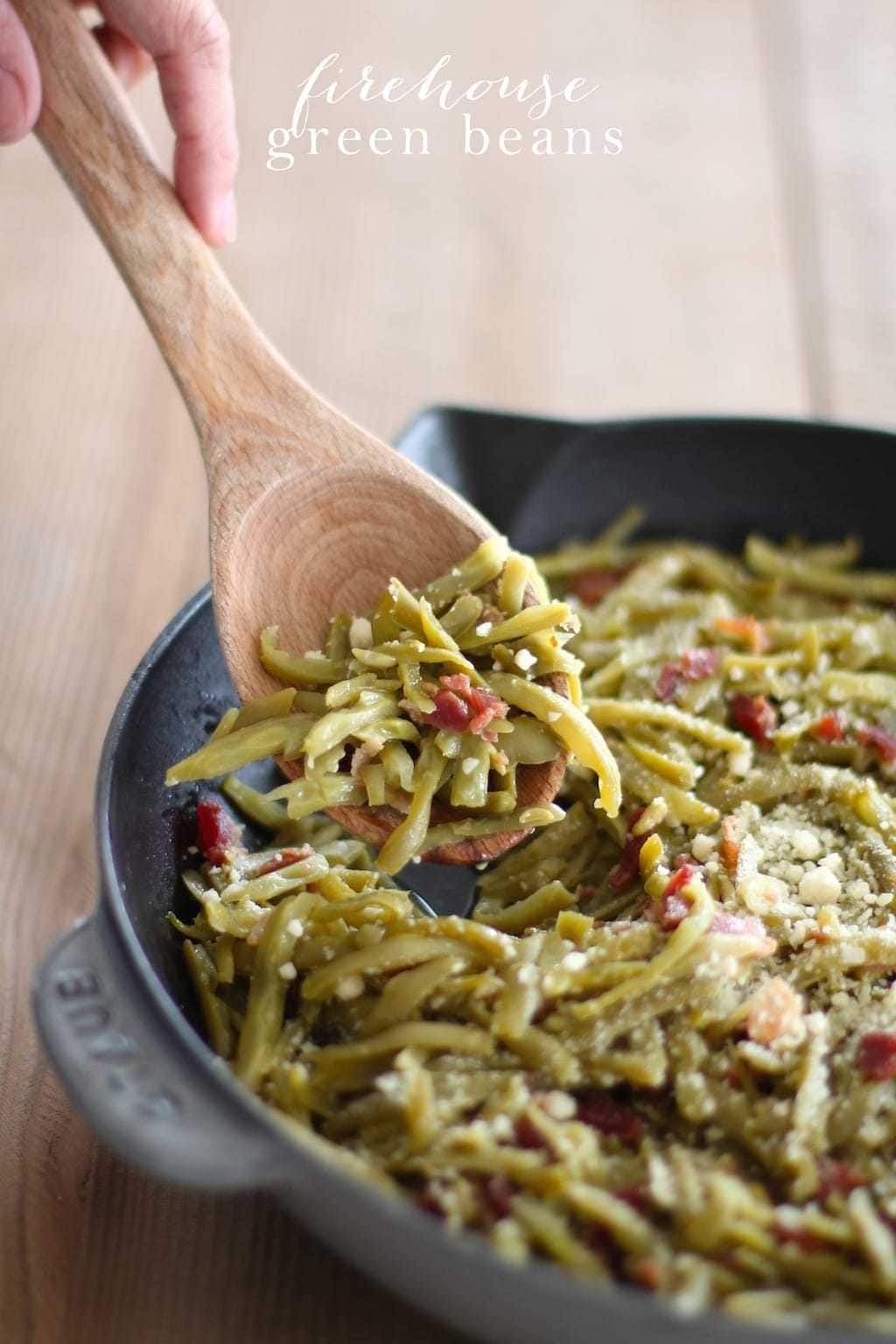 green beans with bacon in a skillet with text overlay