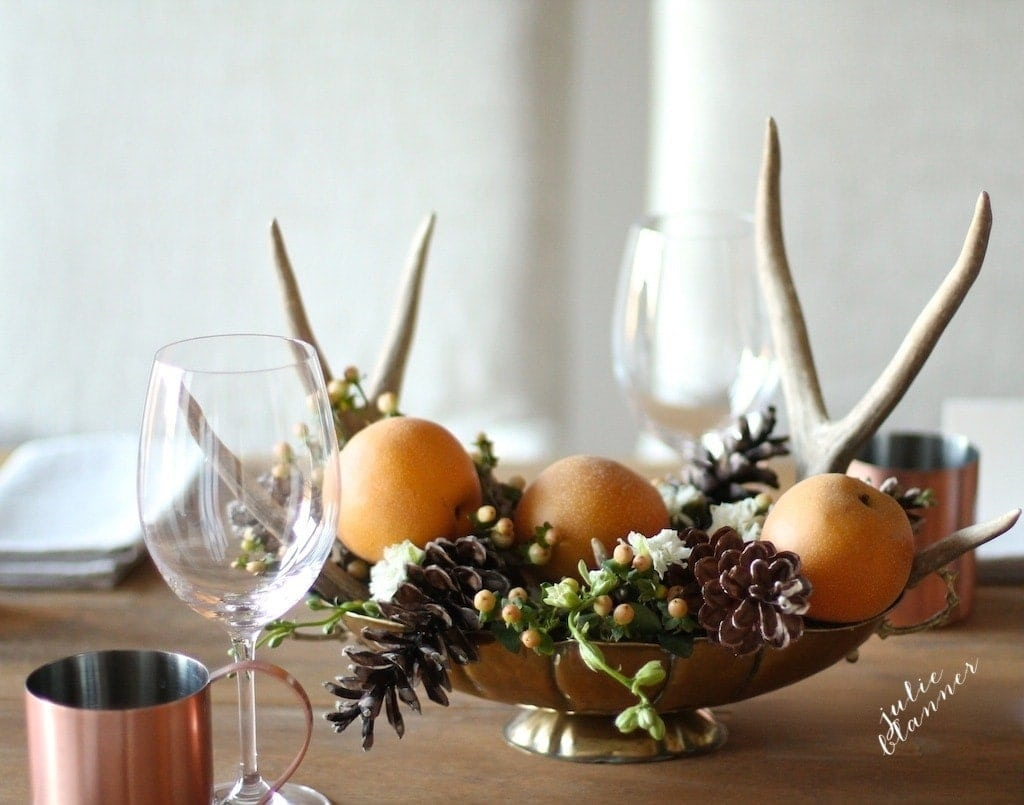Create a beautiful centerpiece with items you can gather from home