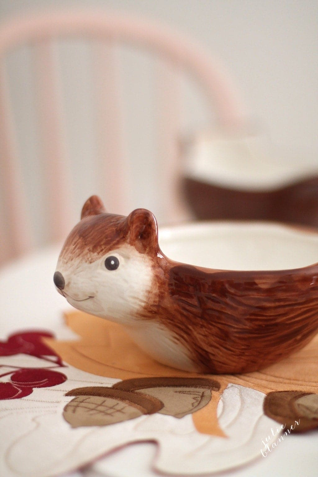 Thanksgiving kids' table with squirrel bowl