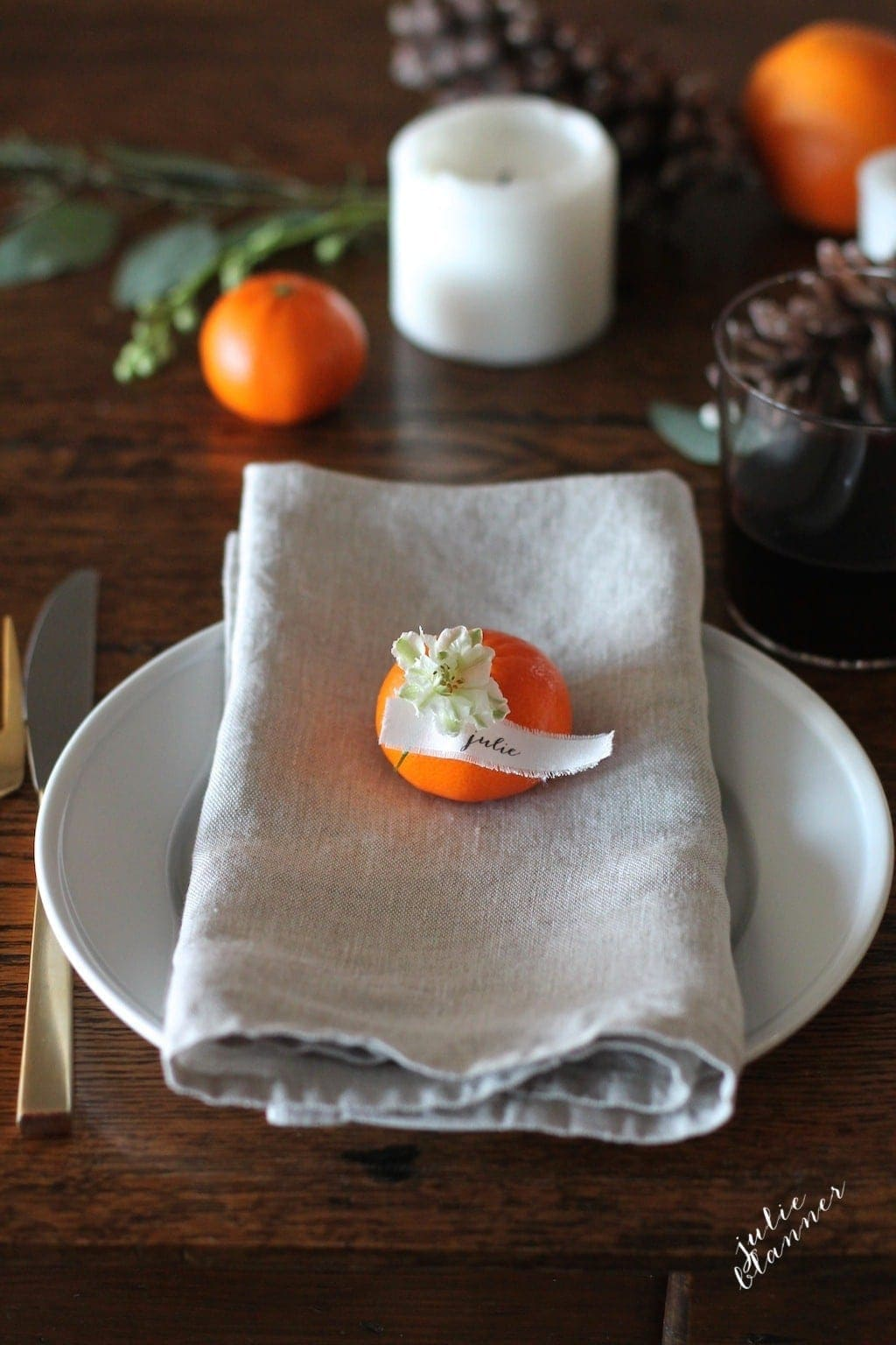 Thanksgiving place setting with personalized place cards printed on fabric {in under 5 minutes!}