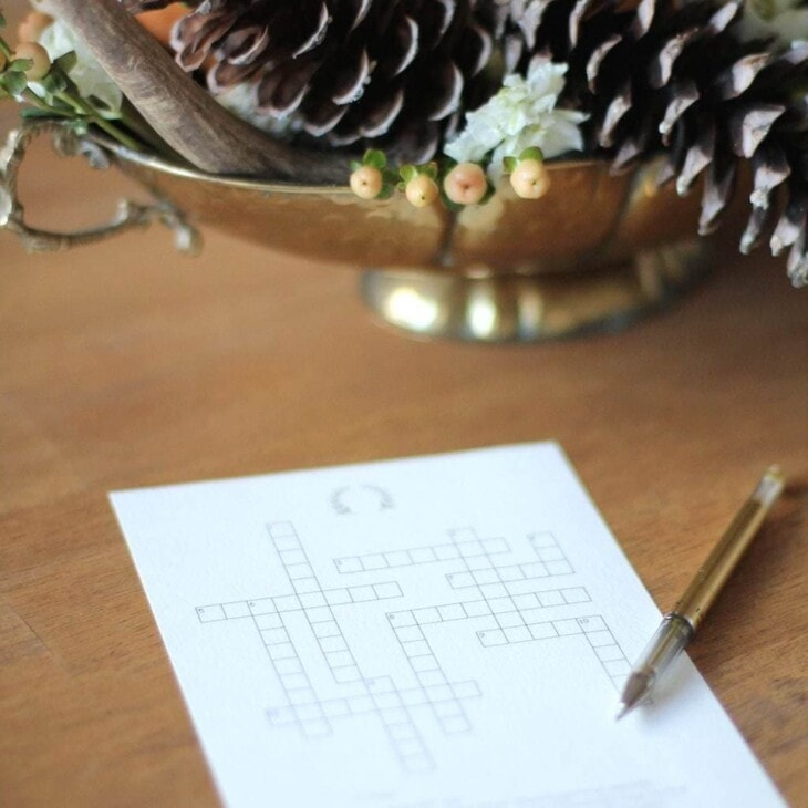 Printable Thanksgiving activities - a Thanksgiving crossword puzzle