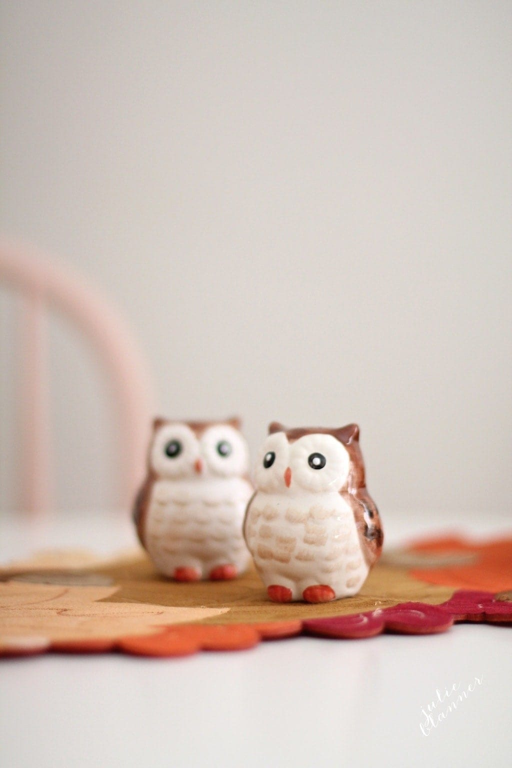 kids' dinning table with owl salt and pepper shakers