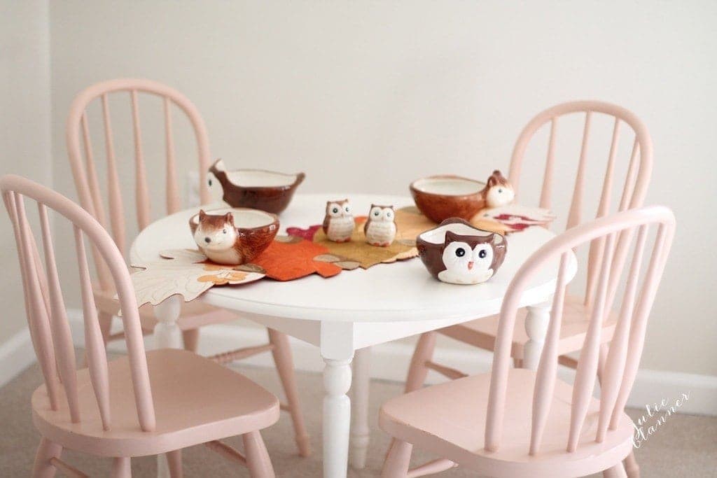Thanksgiving kids' table set with Walmart's Better Home and Garden line.