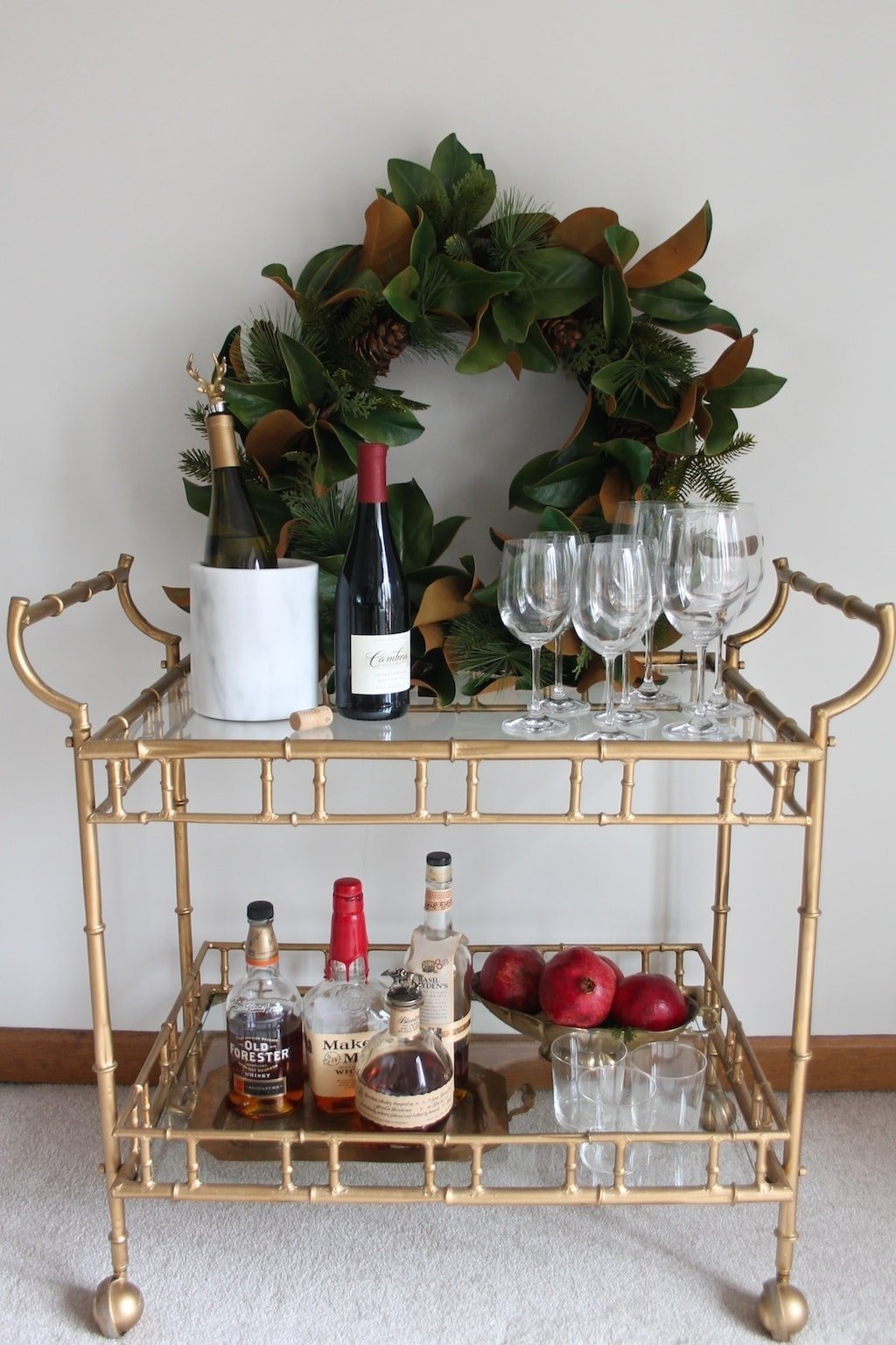 Tips for styling a bar cart for Christmas