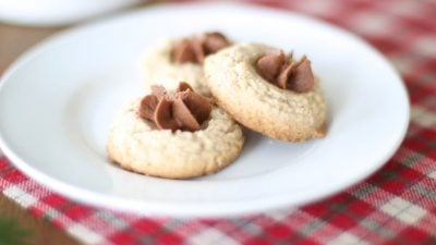 Pecan Thumbprint Cookie recipe with chocolate butter icing - melt in your mouth amazing!