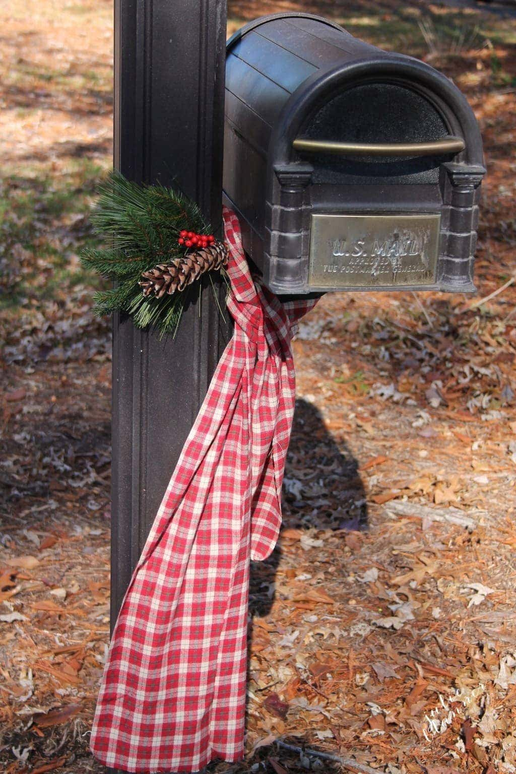 Adorn your mailbox with this beautiful swag & scarf for Christmas. Get the step-by-step tutorial.