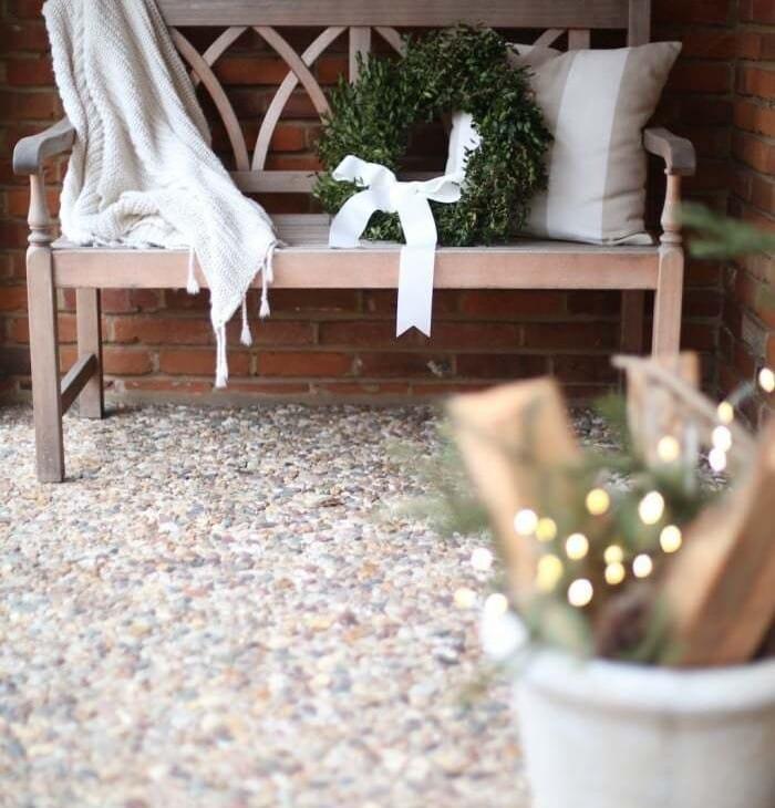 Simple & neutral Christmas front porch decorations