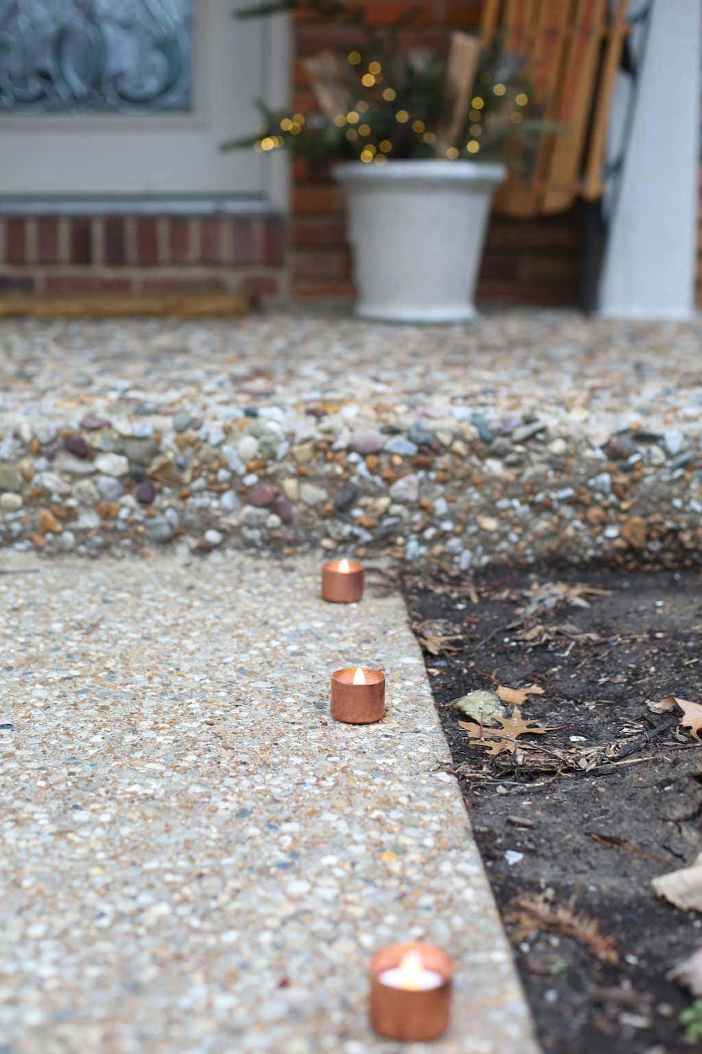 DIY copper tealights - a simple tutorial for a stunning walkway or table setting