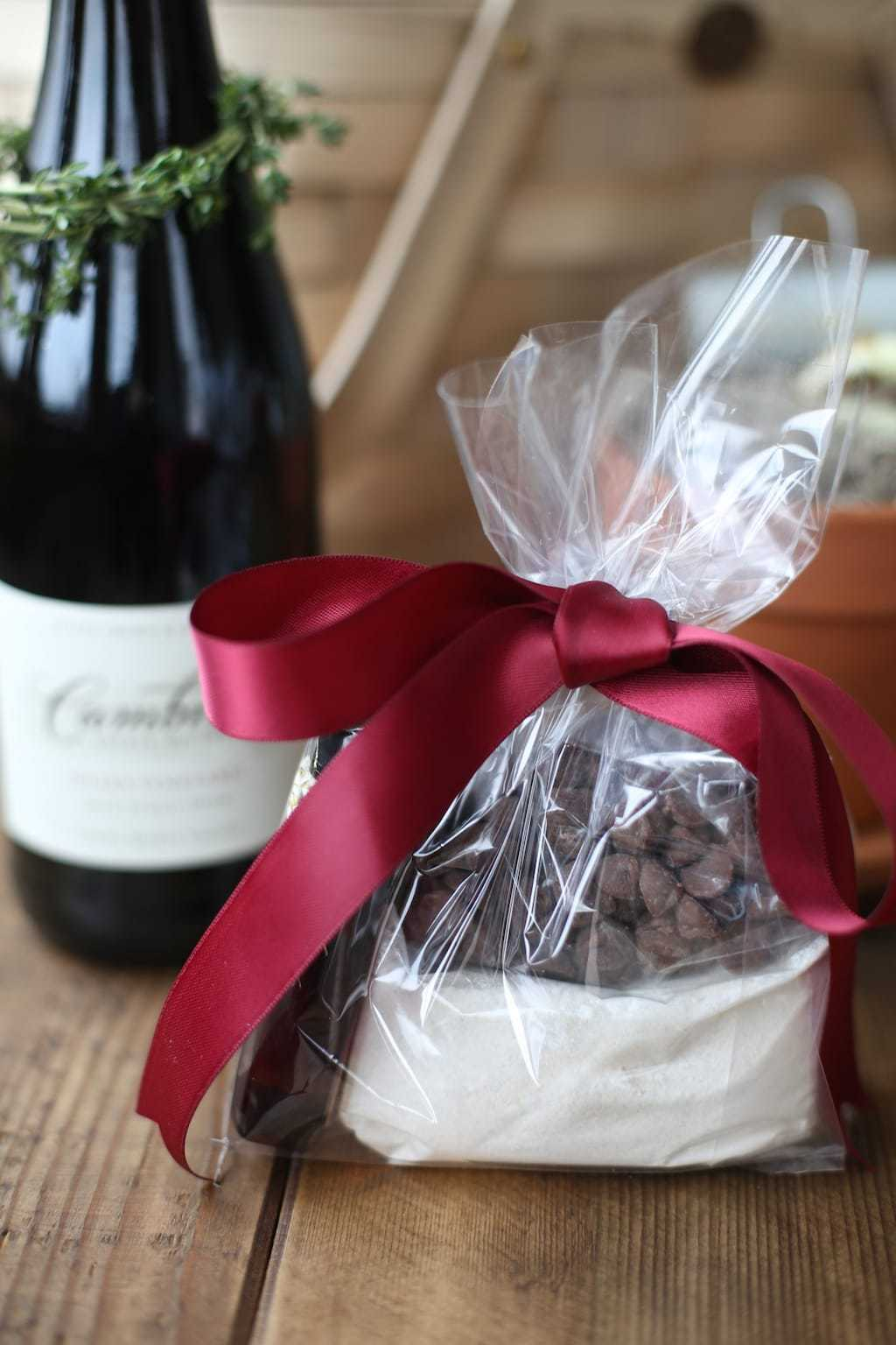Molten lava cake mix wrapped in cellophane for gifting in a wine and chocolate gift basket.