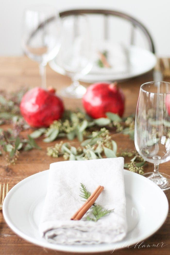 Setting a table for Christmas with a diy edible centerpiece