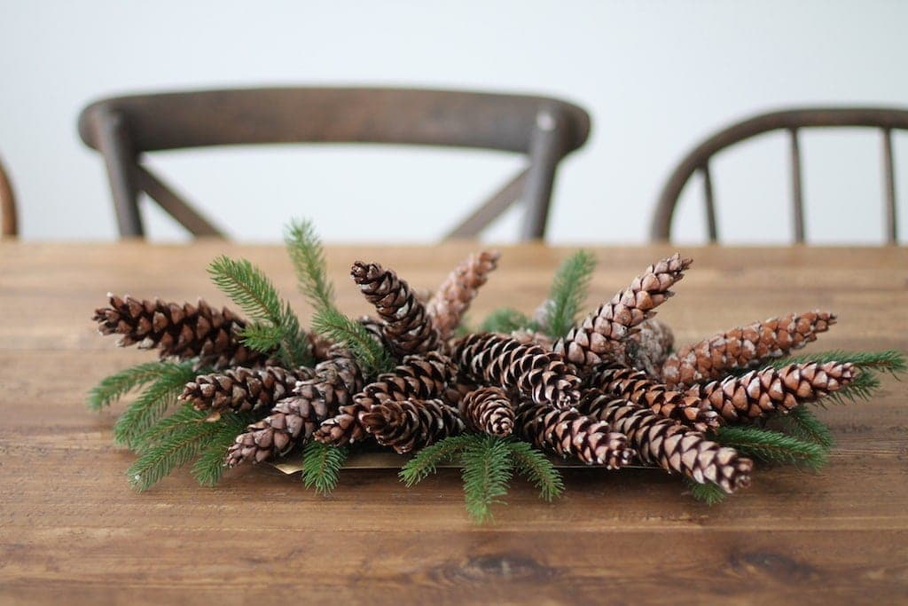 Greenery and pinecone table decor on a farm table.