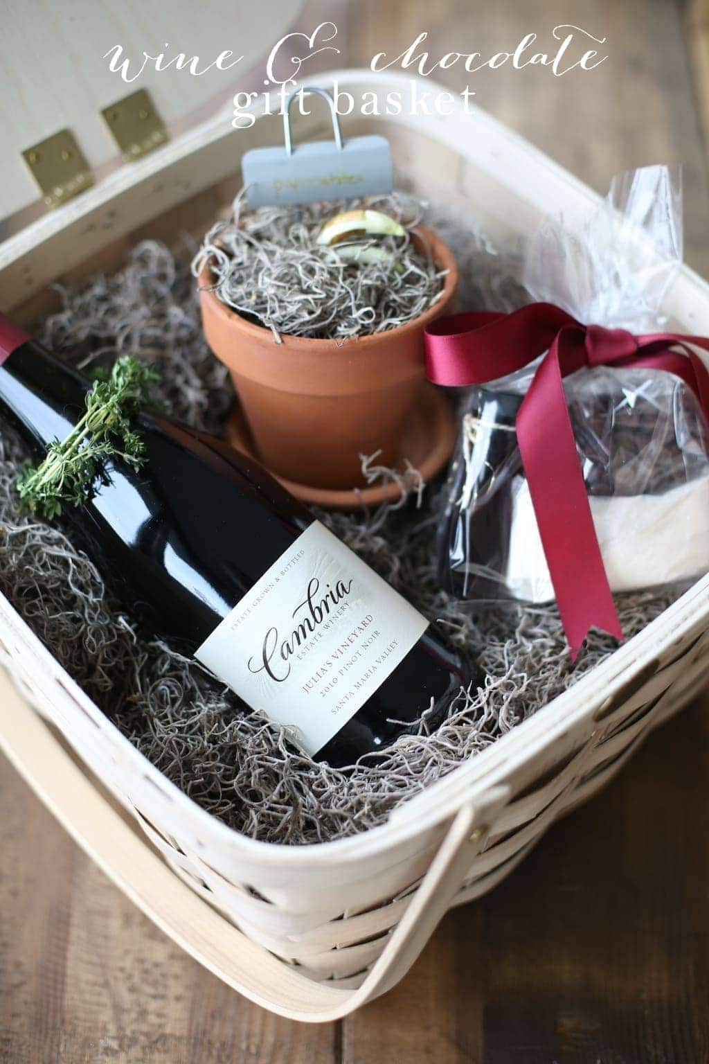 Wine and Chocolate Gift basket with a molten lava cake kit and recipe!