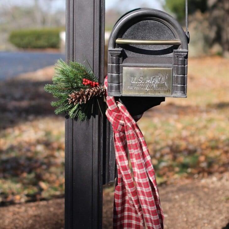 christmas mailbox swag and scarf