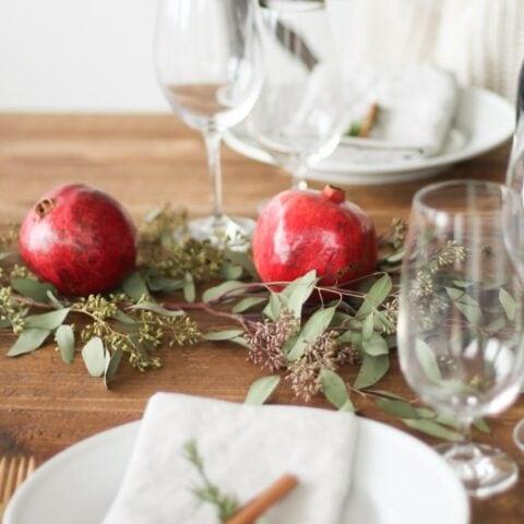 DIY edible Christmas centerpiece and table setting