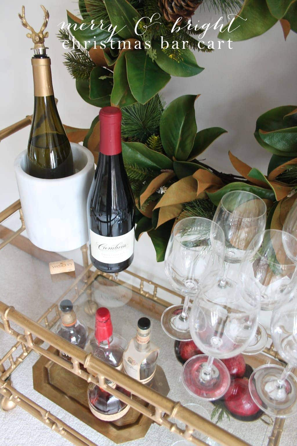 Tips & tricks for styling a bar cart for Christmas