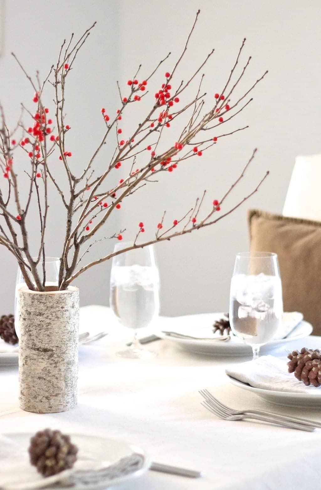 Berry Amp Birch Christmas Table Setting