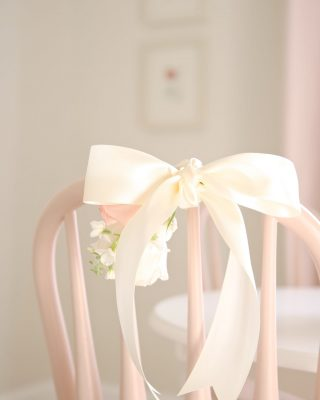 Make a birthday special with a simple swag of flowers on the birthday girl's chair