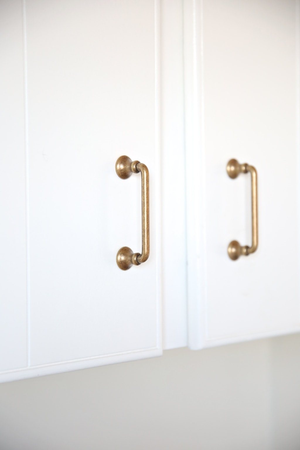 Beautiful brass pulls for the laundry room