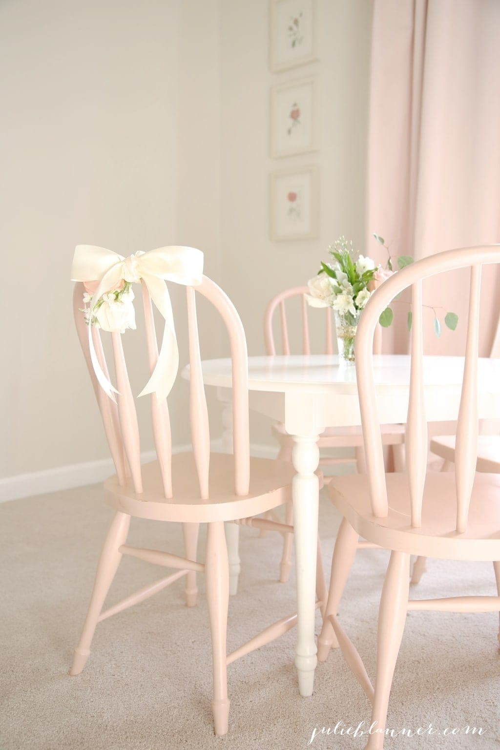 DIY floral chair swag - beautiful way to celebrate the guest of honor