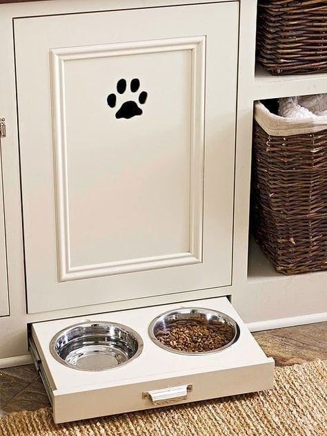 Simple storage solutions for an organized mudroom - a dog bowl drawer