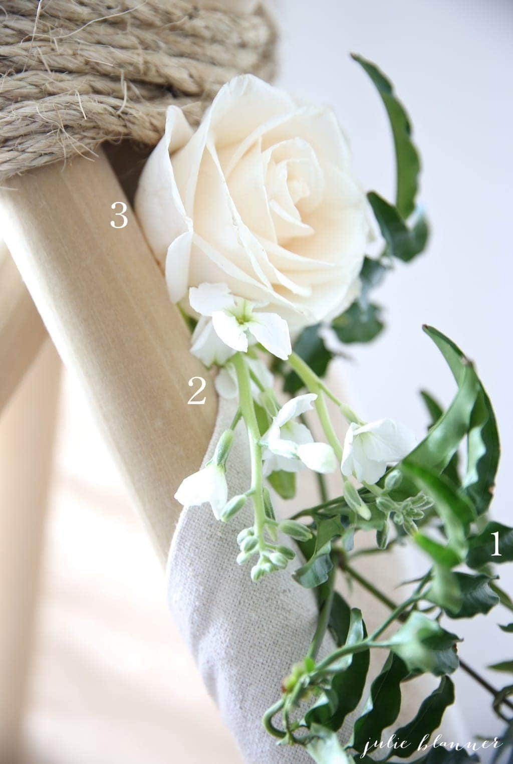 Step by step instructions to arrange grocery store flowers on a teepee