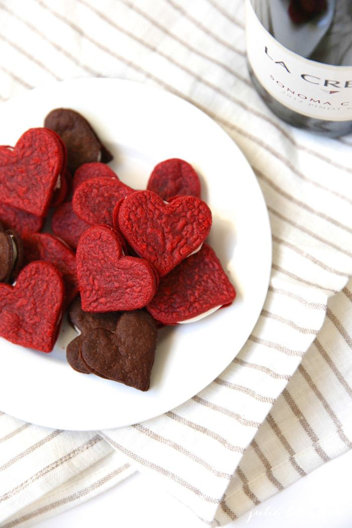 Heart shaped cookies served on a white plate