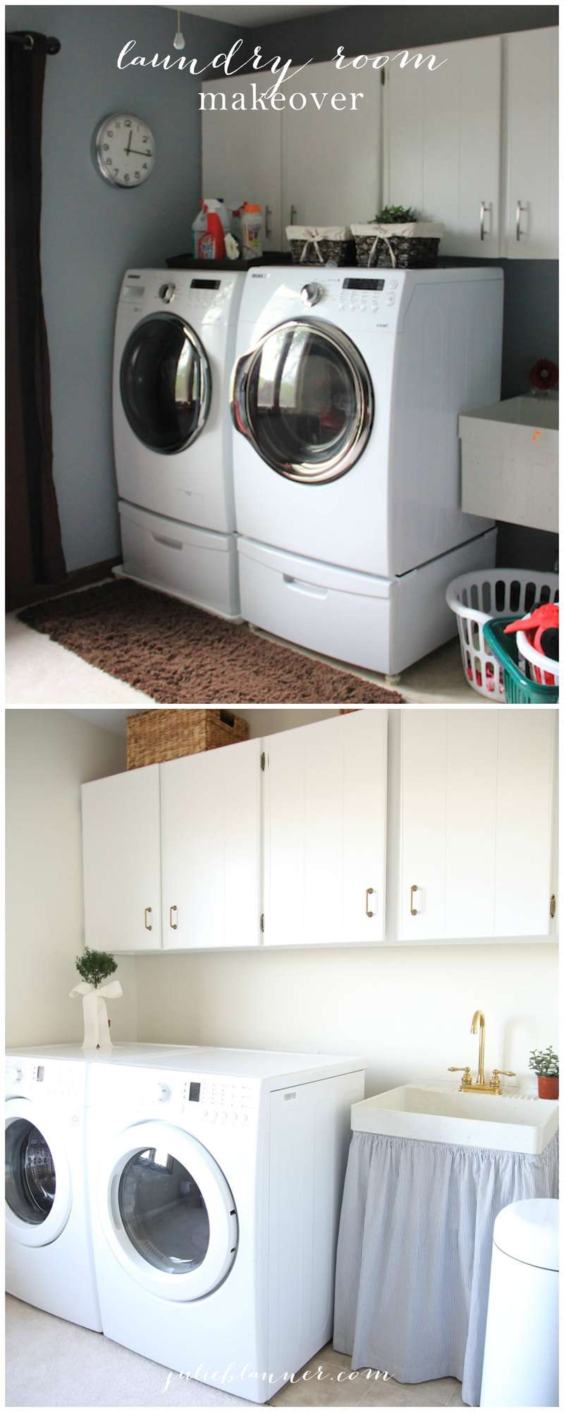 Inexpensive laundry room makeover - see the incredible before & after!