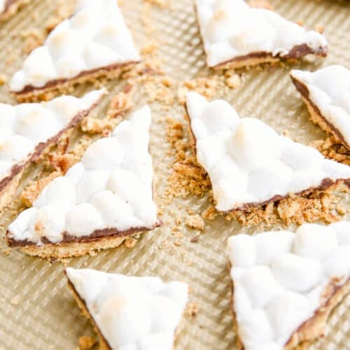 smores toffee on baking sheet