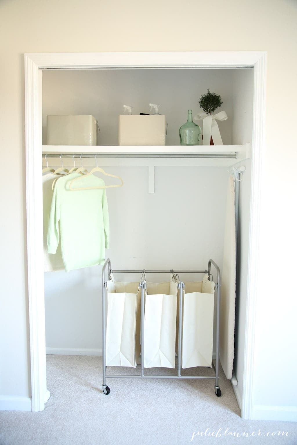 Pretty laundry room with easy organization ideas to maximize space & function!