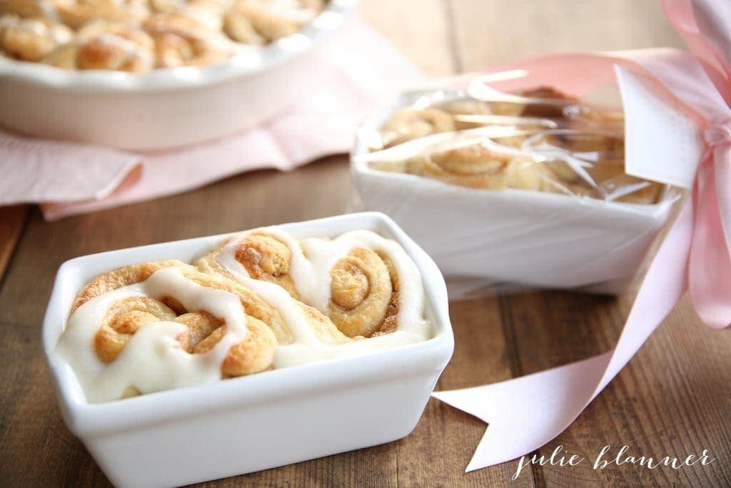 Hart shaped cinnamon rolls gift wrapped