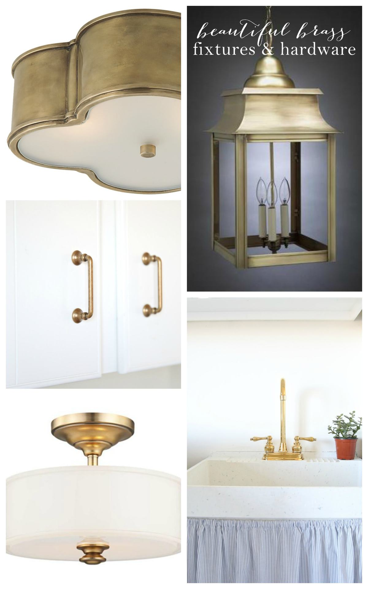 Beautiful brass hardware & light fixtures
