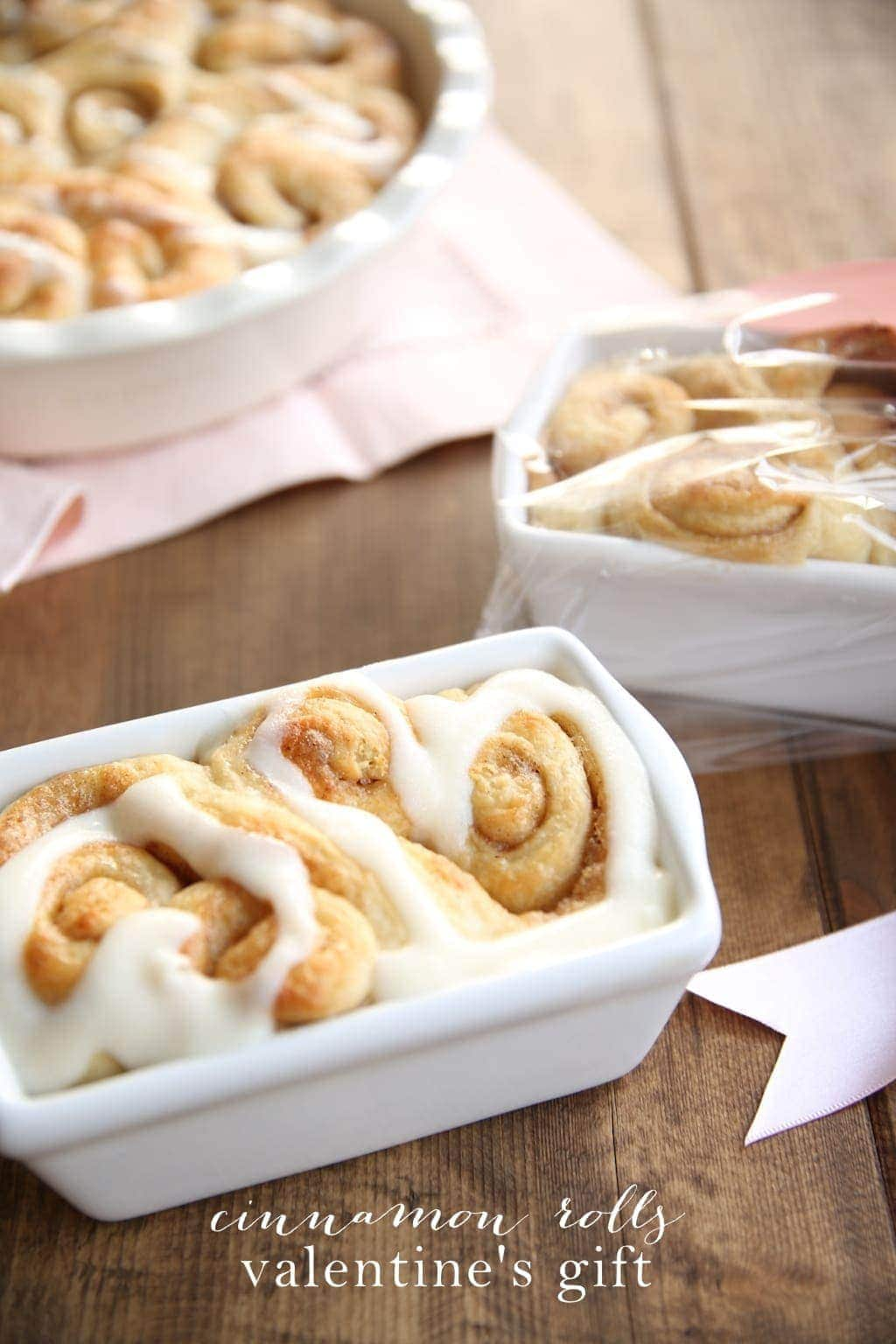 Heart Shaped Cinnamon Rolls Valentine's Day Gift
