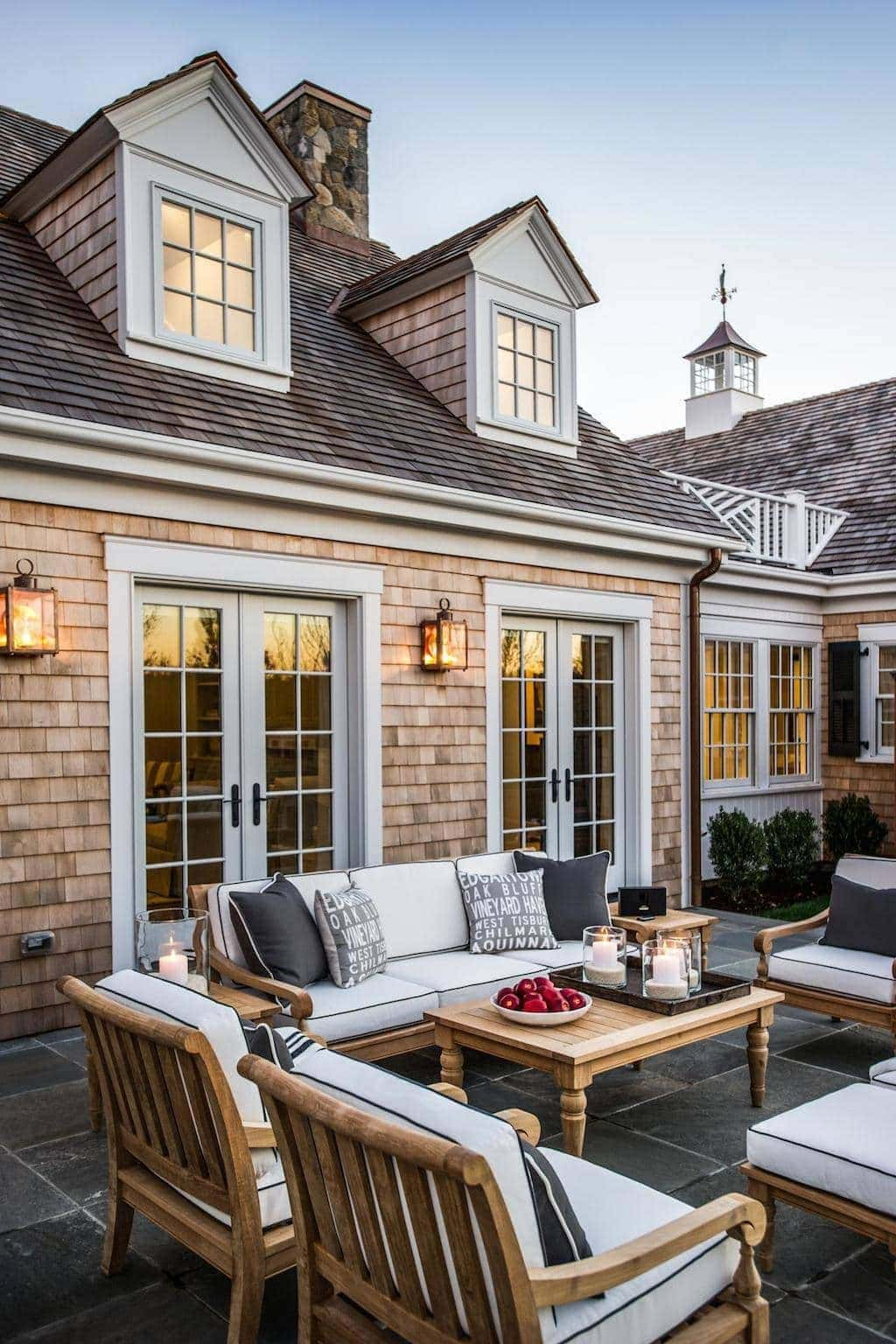 HGTV Dream Home patio with beautiful Ethan Allen Furniture, French Doors & lanterns