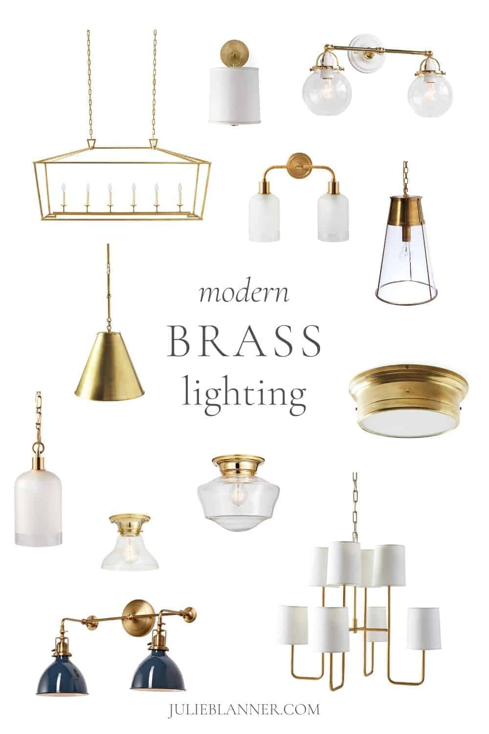 collage of modern brass lighting