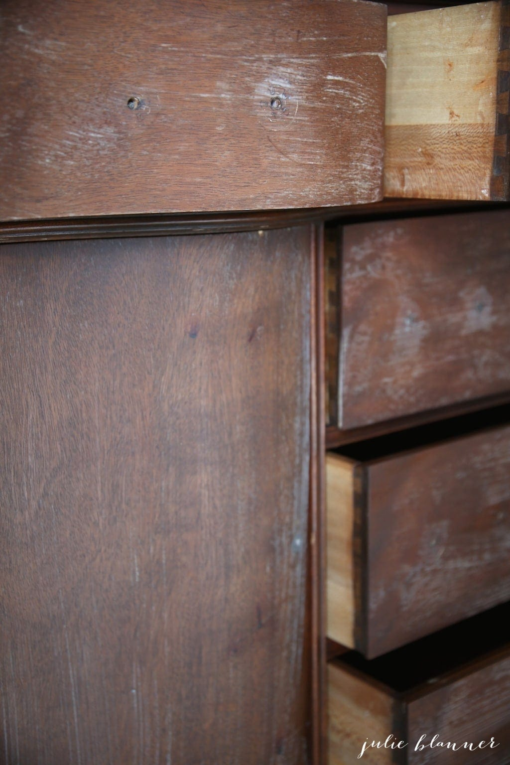 liquid sandpaper deglosser on stained wood furniture