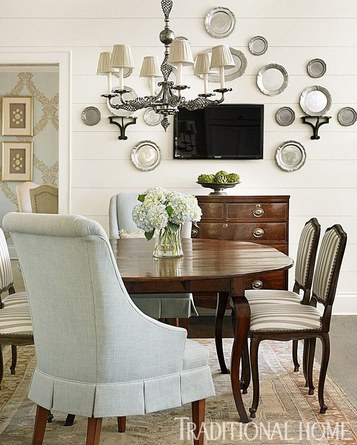 White & wood dining room in Traditional Home with shiplap