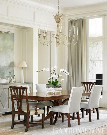 Dining Room in Traditional Home Magazine with heavy moldings, wainscoting & inset curtain rod