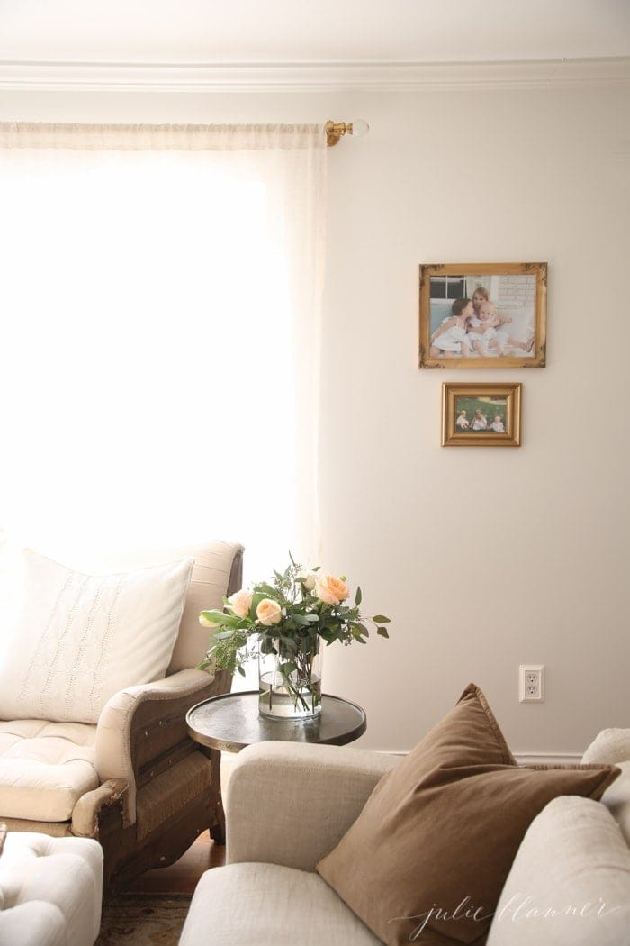 Neutral living room of home blogger Julie Blanner