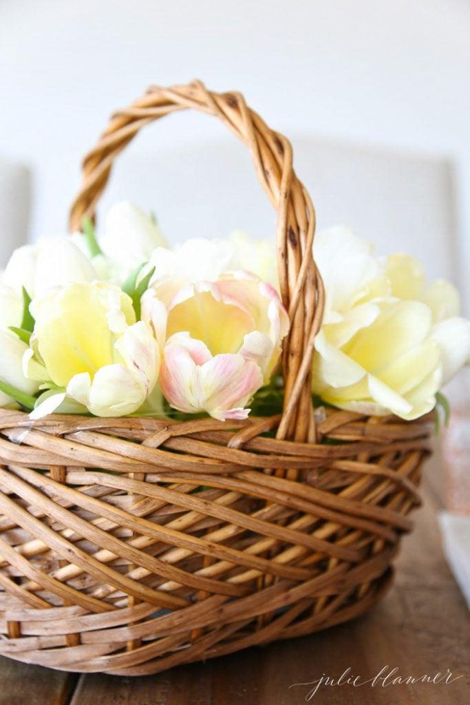 Small Basket Centerpiece : Spring centerpiece tutorial basket of tulips
