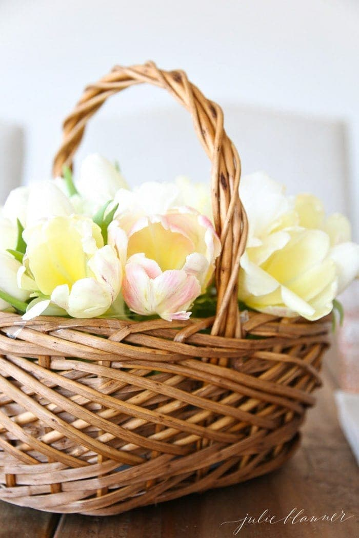 flower basket of yellow tulips