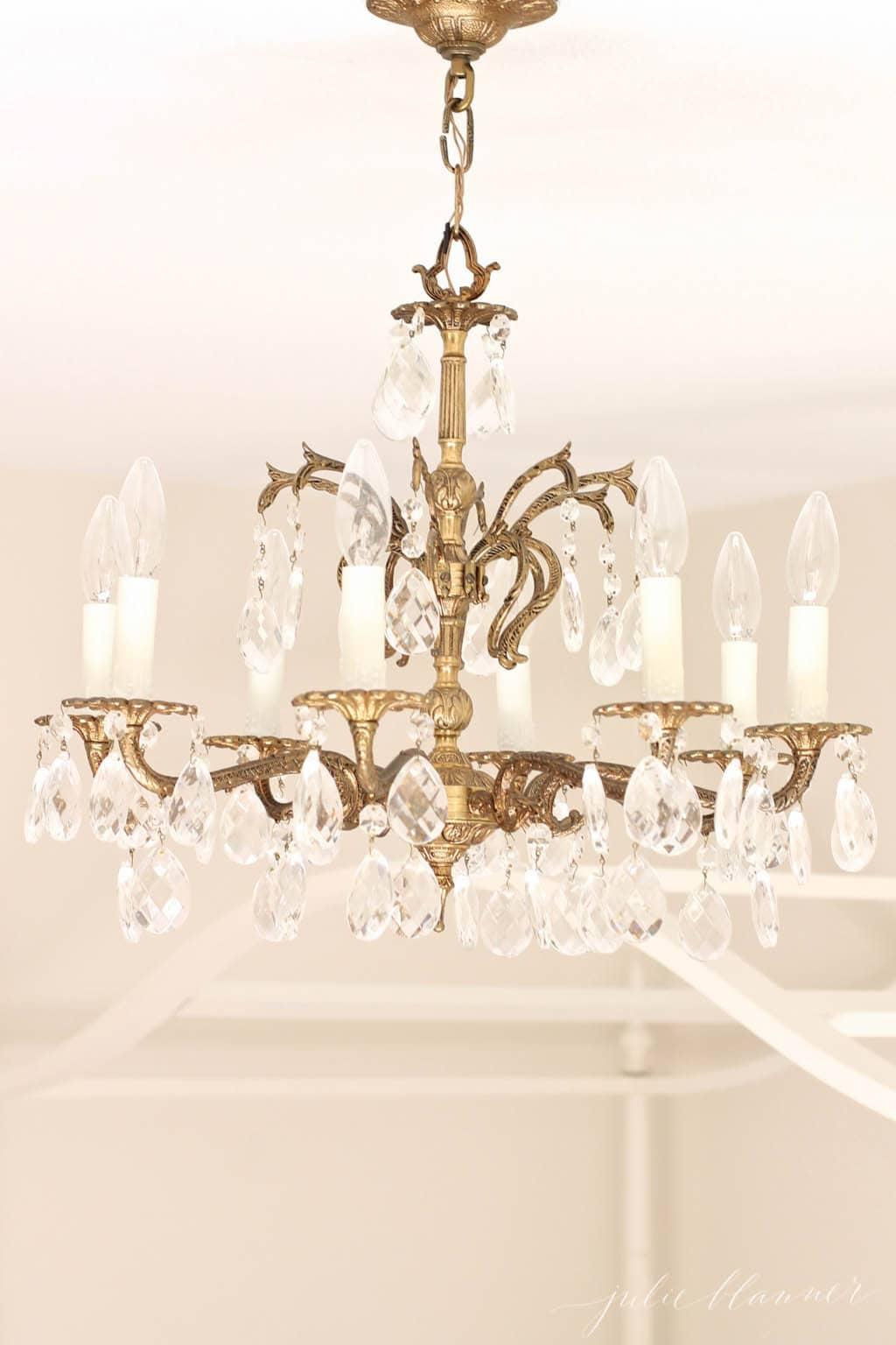 Brass & glass chandelier for little girl's bedroom