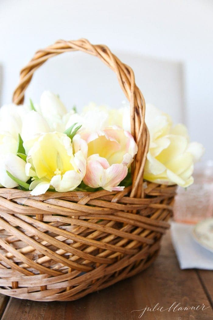 flower basket filled with yellow tulips