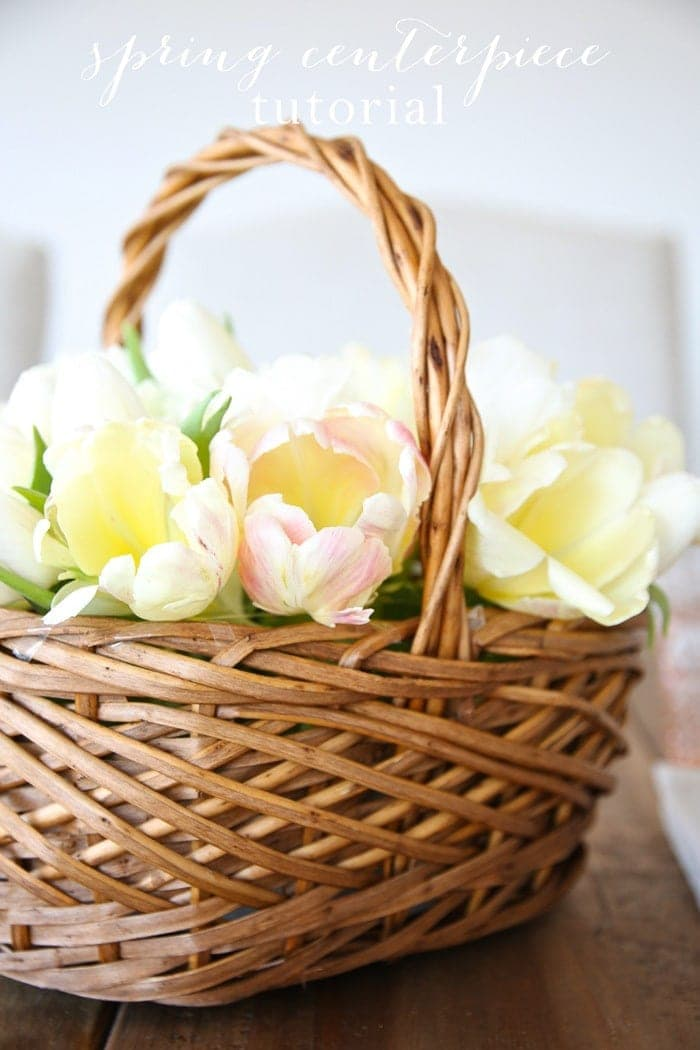 Basket of Tulips Spring Centerpiece