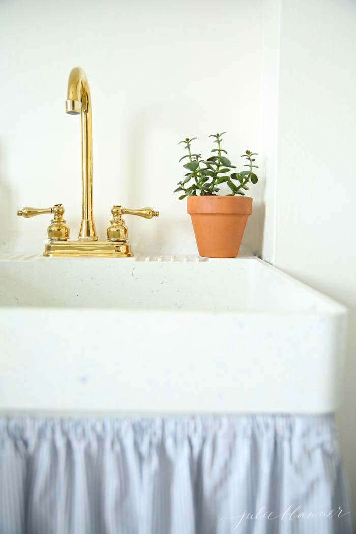 A utility sink with a brass faucet and a small potted plant.