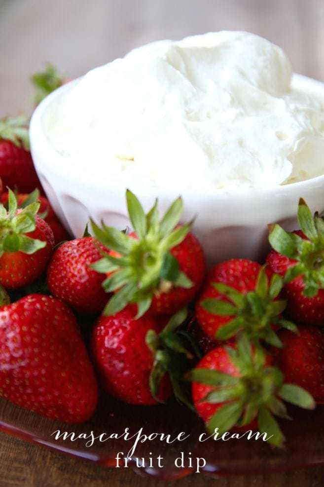 Easy 3 ingredient, 5-minute mascarpone cream recipe can be whipped up in no time. It's the perfect fruit dip for cakes, crepes & more!