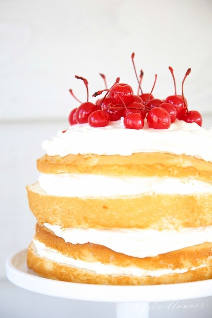 Beautiful summer dessert recipe | Naked Cherries and Cream Cake in just 10 minutes!