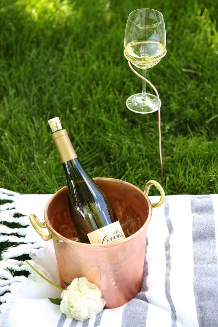 DIY Wine Stakes Glass Holder