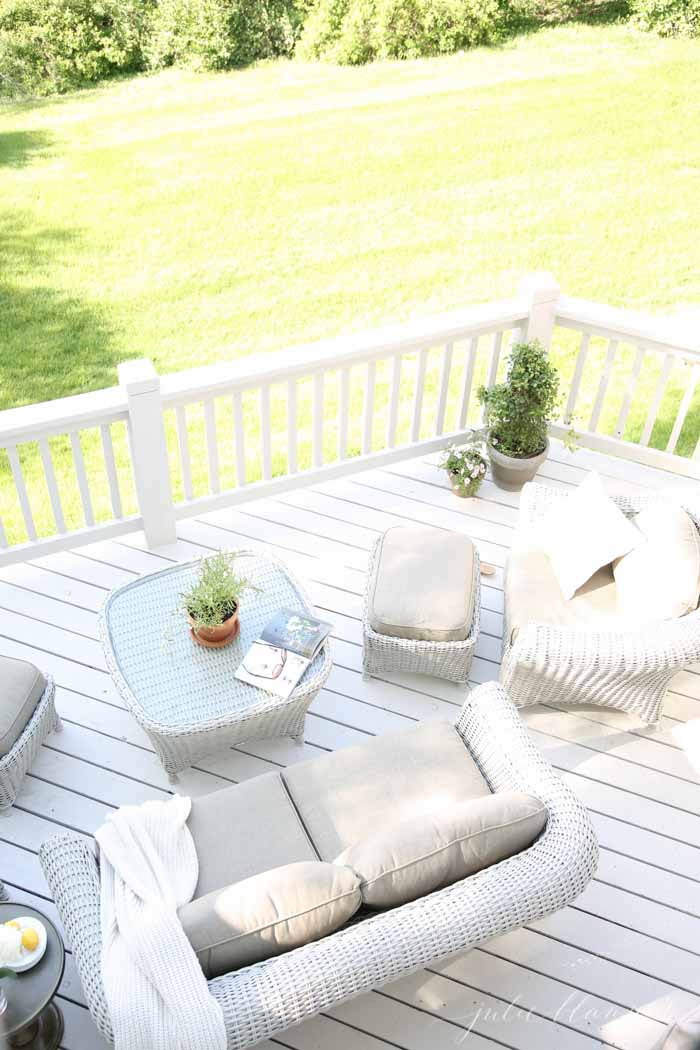 Beautiful deck with Martha Stewart Living furniture | create the patio of your dreams with these easy ideas