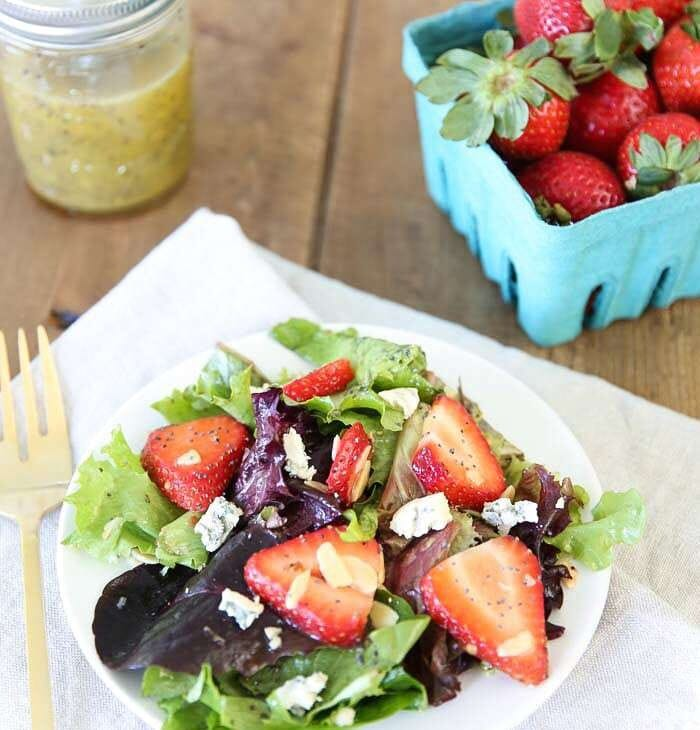 Strawberry salad with poppyseed vinaigrette